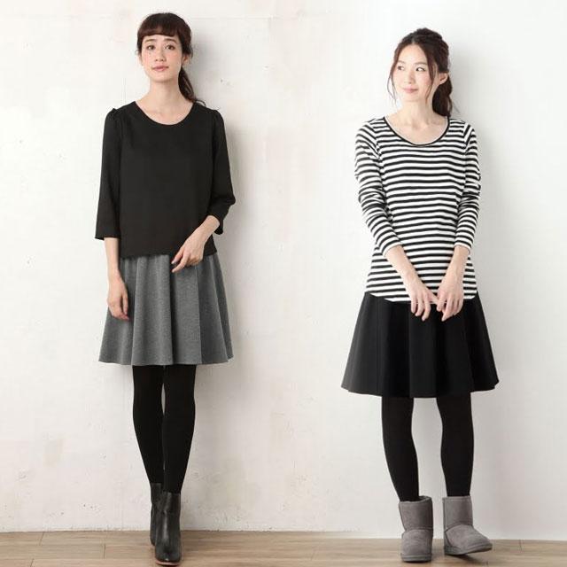 ひざ丈が選べる定番ポンチスカート