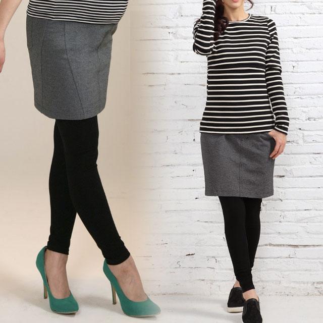 ポンチ素材のスカート付きマタニティレギンス