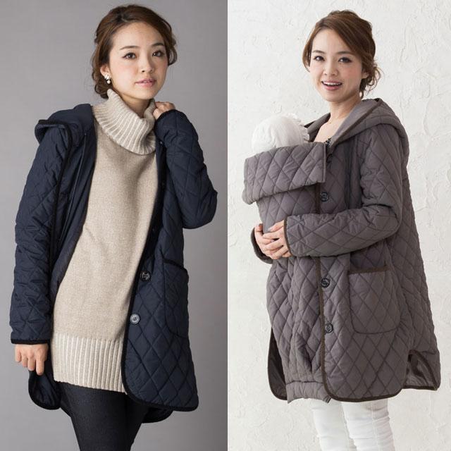 ママのための可愛いキルティングコート