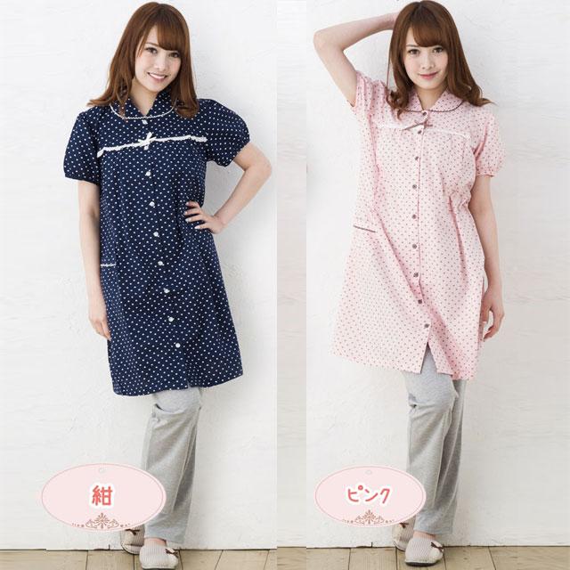 ハートプリント×無地パンツのマタニティ半袖パジャマ