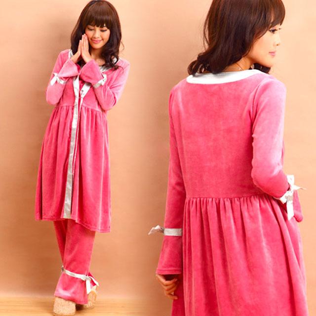 贅沢素材のあったかパジャマ<br>コットンベロア サテンパイピング<br>授乳ナイティ3点セット