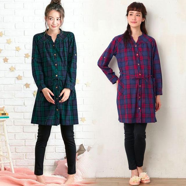 ロングシーズン使いやすい、綿100%の前開きタイプのマタニティパジャマ