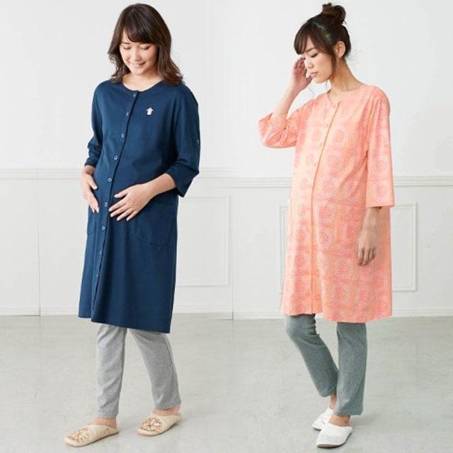 お気に入りのデザインがきっと見つかる!豊富な7種類のカラー&デザインのロング丈マタニティパジャマ