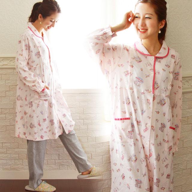 春らしいピンクが可愛いエアリータッチのマタニティパジャマ