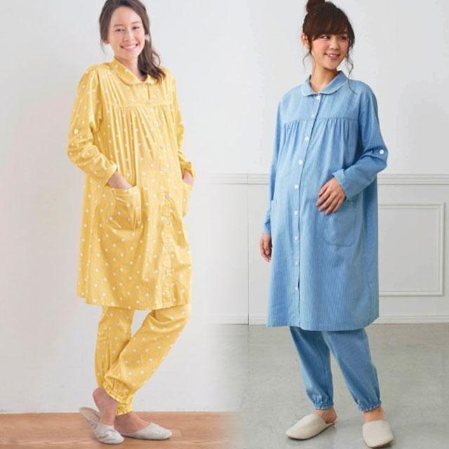 ロング丈のマタニティパジャマ 安心の前開き&裾ゴム入り