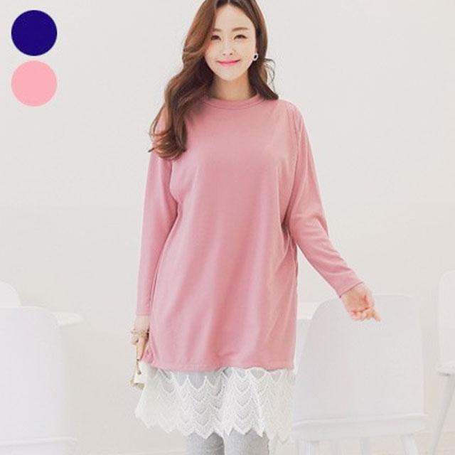 ガーリーな裾レースが可愛い韓国発マタニティウェア