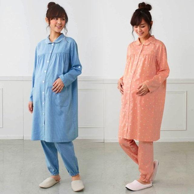 柄デザインがオシャレなベルメゾンのマタニティパジャマ(ズボン付)