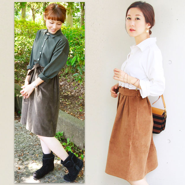 ドロップショルダーシャツとベロアスカートの、スタイリッシュなドッキングワンピース。