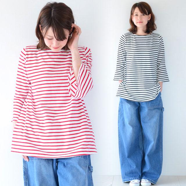 マタニティに見えないオシャレな日本製ボーダーチュニック(七分袖)
