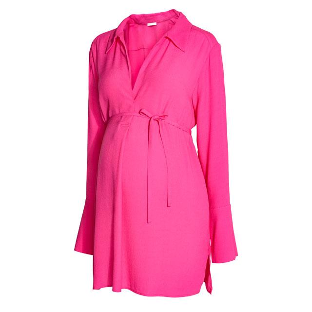 綺麗なピンクのマタニティシャツチュニック♪スリット入り