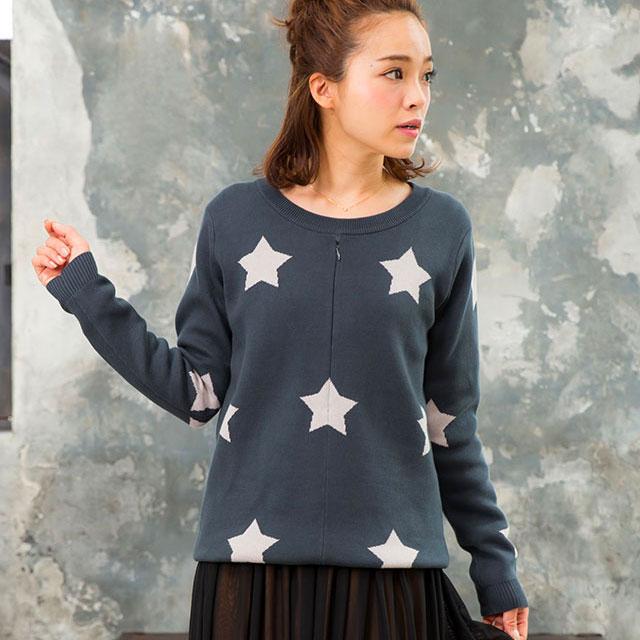 星柄が大人かわいい 珍しい柄物のマタニティトップス
